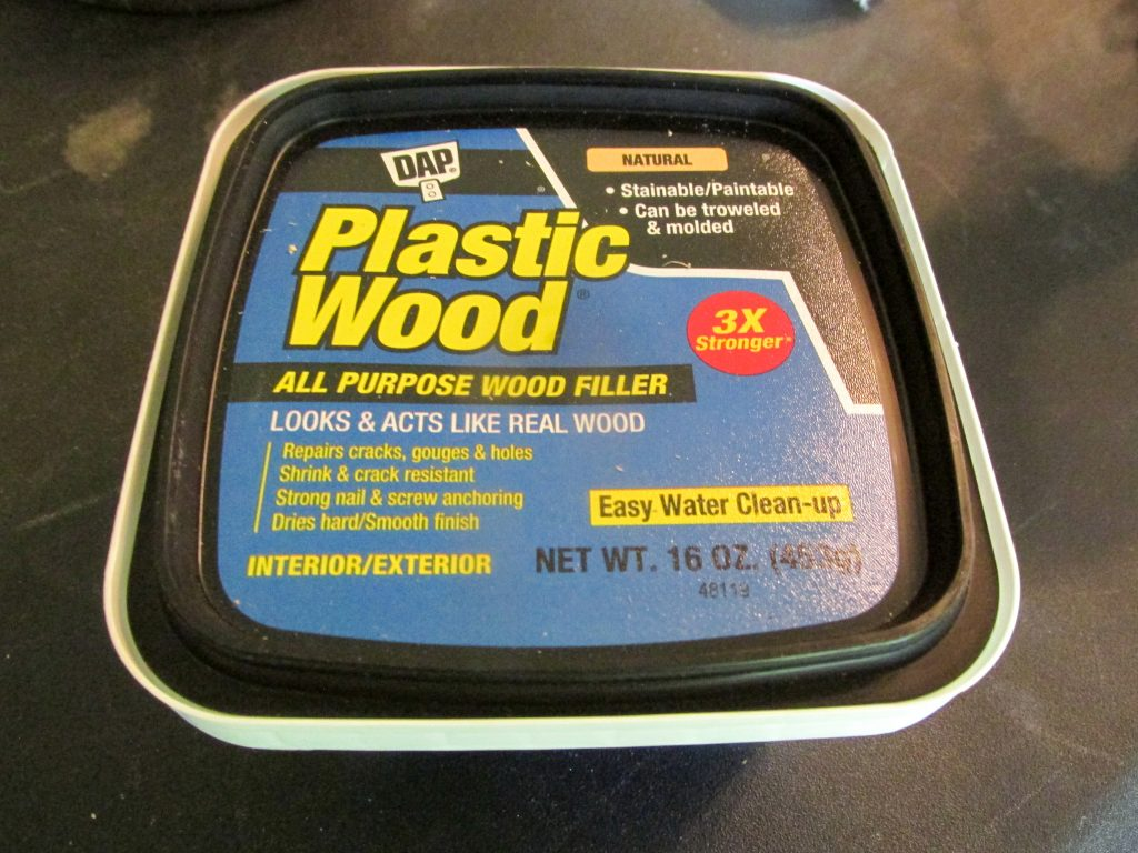 wood filler in plastic container