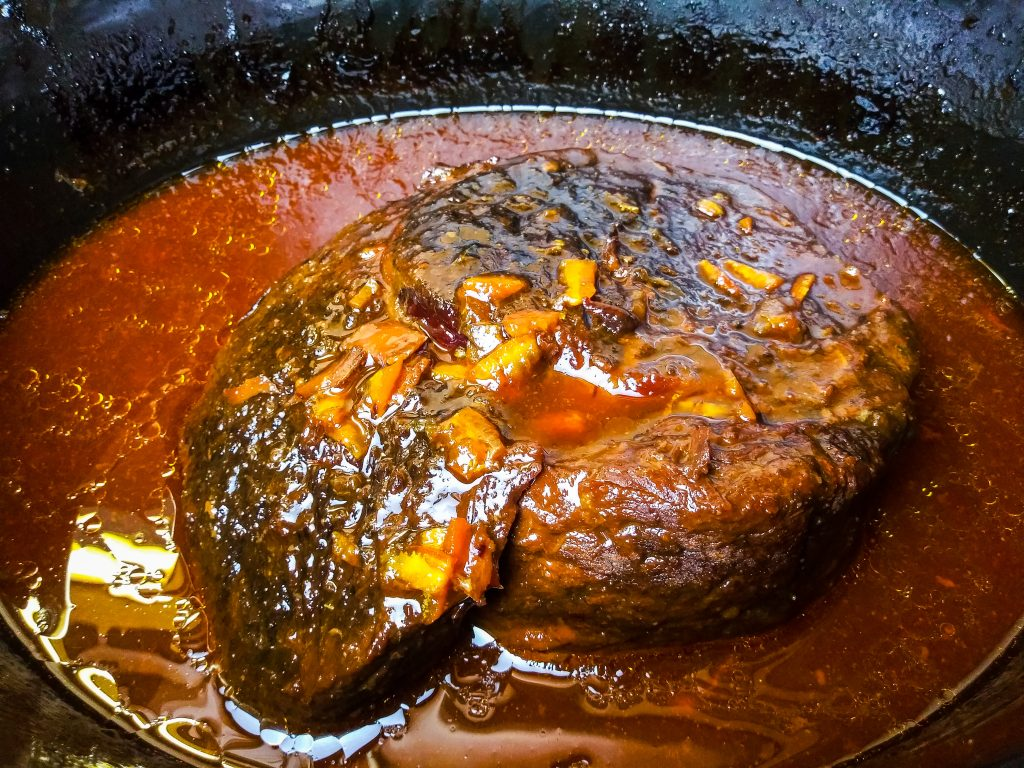 orange beef in the slow cooker almost finished cooking
