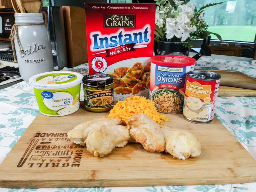 ingredients for this cheesy french onion chicken casserole on laid out on the counter top